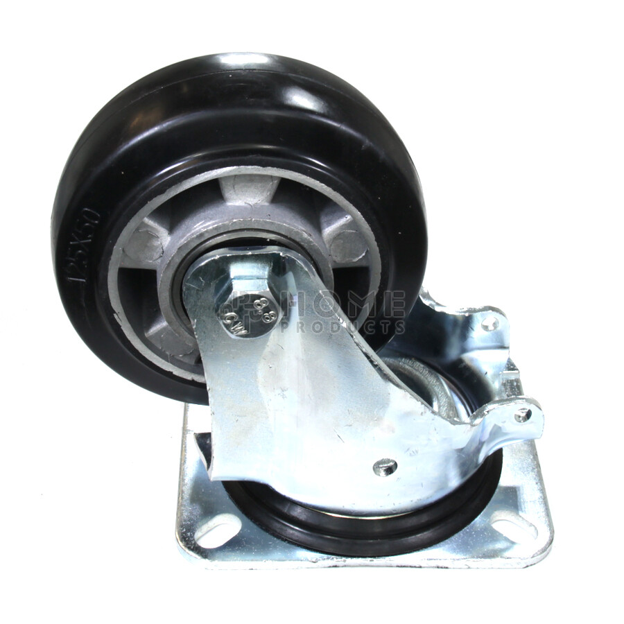 Swivel castor with brake, diameter 125 mm, elastic rubber tire, load capacity up to 250 kg