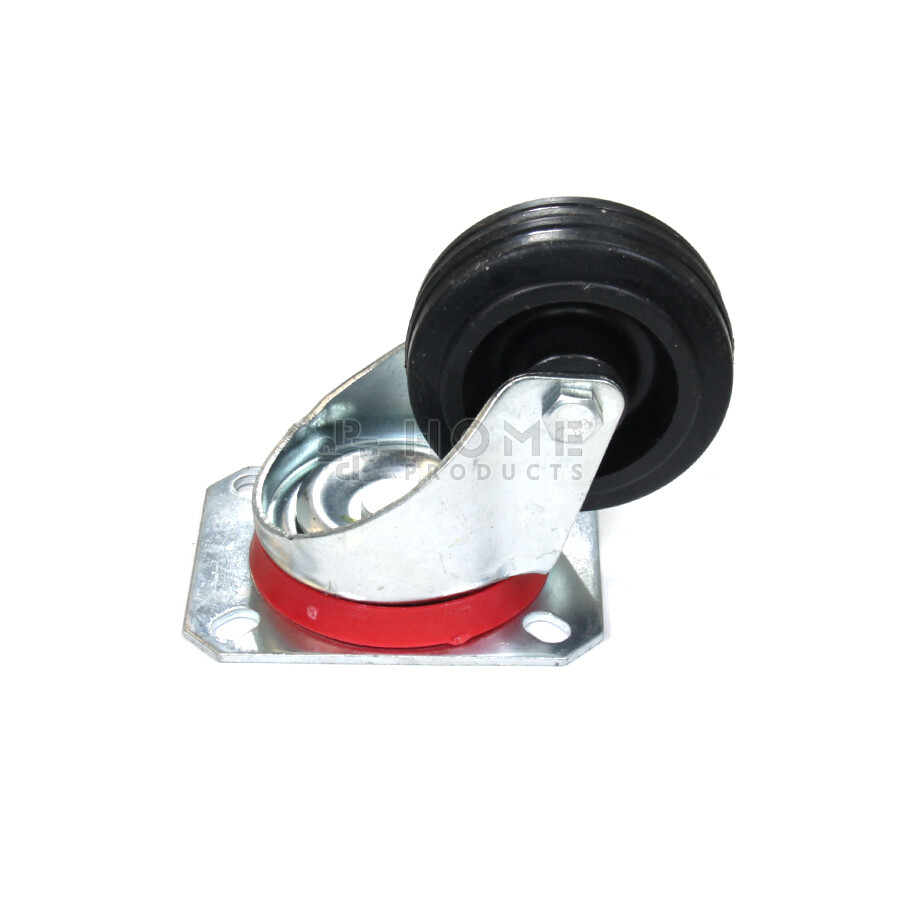 Swivel castor, diameter 80 mm, black rubber tire, load capacity up to 65 kg, polypropylene core