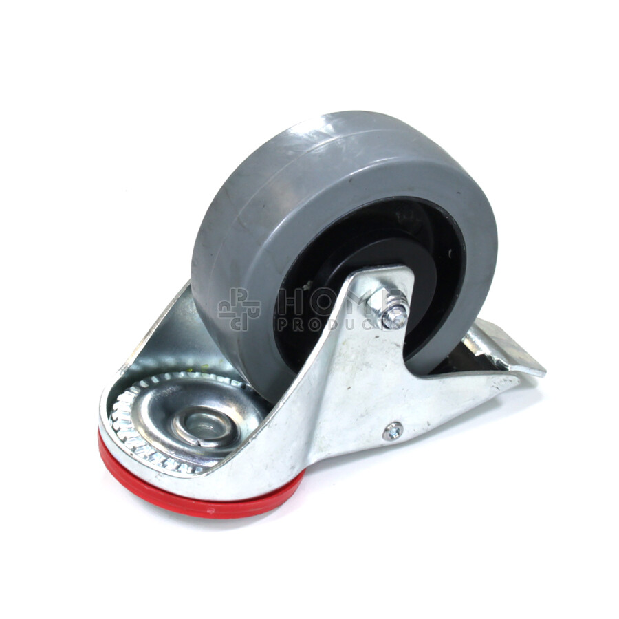 Swivel castor with brake, diameter of 100 m elastic rubber tire, load capacity up to 150 kg
