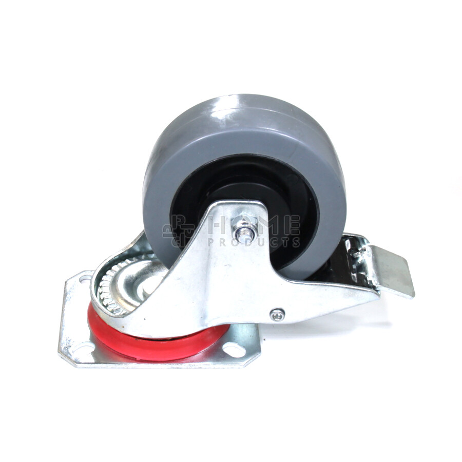 Swivel castor with brake, 100 mm diameter, elastic rubber tire, load capacity up to 150 kg