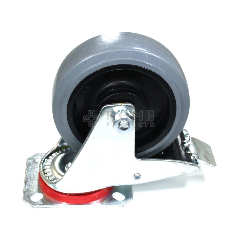 Swivel castor with brake, 125 mm diameter, elastic rubber tire, load capacity up to 200 kg