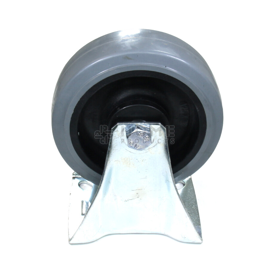 Fixed-wheel wheel, diameter 125 mm, elastic rubber tire, load capacity up to 200 kg