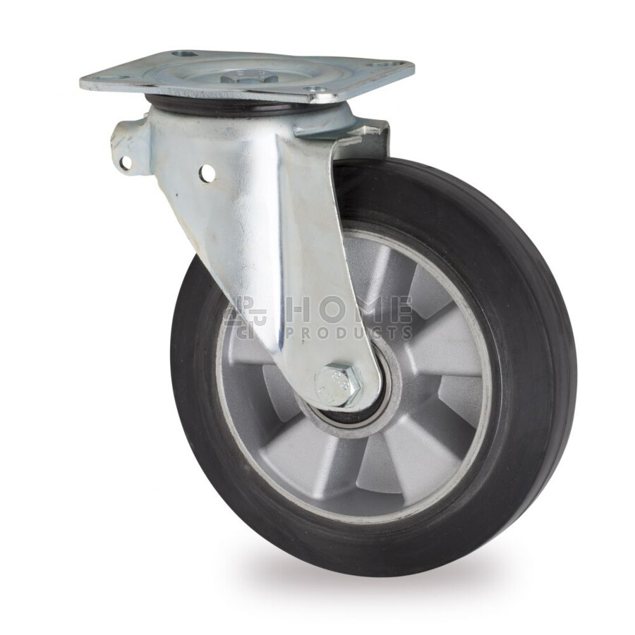 Swivel castor, diameter 200 mm, elastic rubber tire, load capacity up to 400 kg, aluminum core