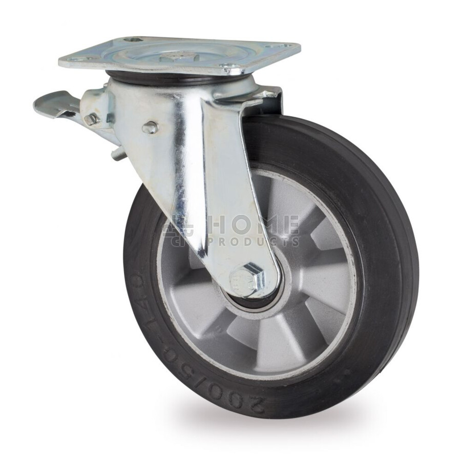 Swivel castor with brake, diameter 200 mm, elastic rubber tire, load capacity up to 400 kg