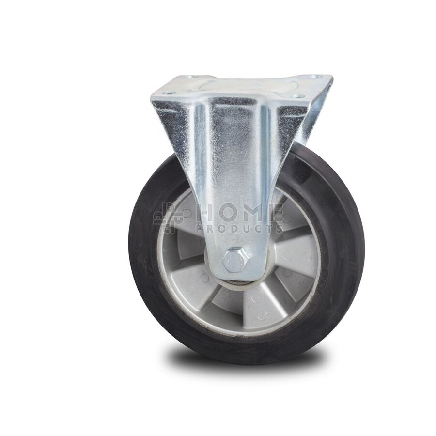 Fixed-wheel wheel, diameter 250 mm, elastic rubber tire, load capacity up to 500 kg