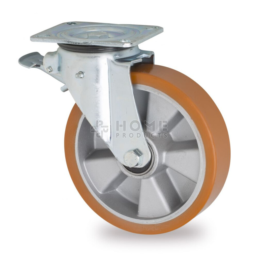 Swivel castor with brake, 200 mm diameter, vulcanized polyurethane tire, load capacity up to 800 kg