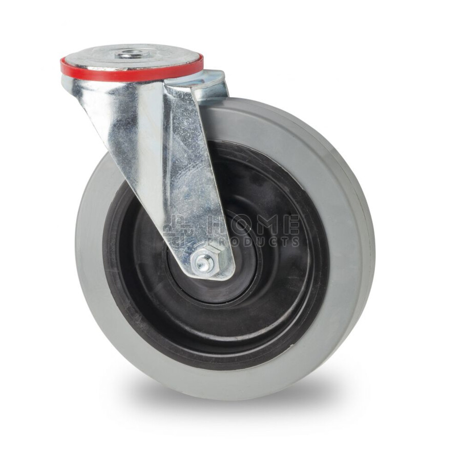 Swivel castor, diameter 200 mm, elastic rubber tire, load capacity up to 400 kg