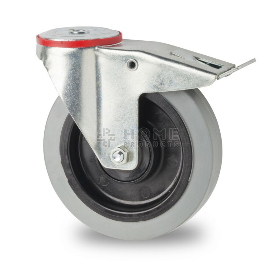 Swivel castor with brake, 200 mm diameter, elastic rubber tire, load capacity up to 400 kg