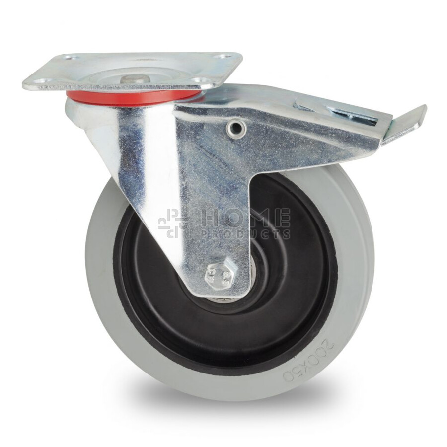 Swivel castor with brake, 200 mm diameter, non-marking elastic rubber tire, load capacity 400KG