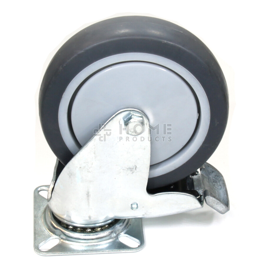Swivel castor with brake, 100 mm diameter, non-marking rubber tire, load capacity up to 80 kg