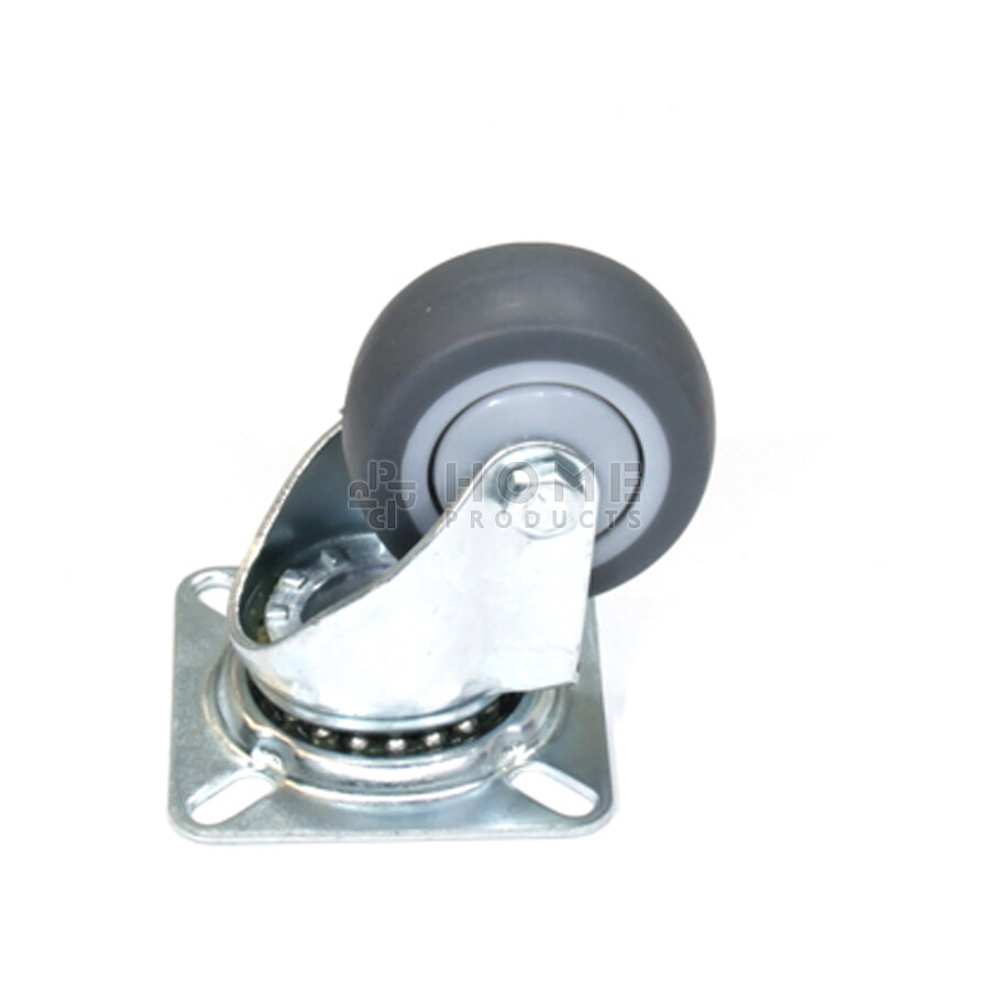 Swivel castor, diameter 50 mm, non-marking rubber tire, load capacity up to 50 kg