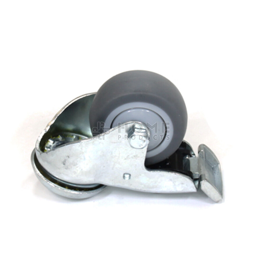 Swivel castor with brake, 50 mm diameter, non-marking rubber tire, load capacity up to 50 kg