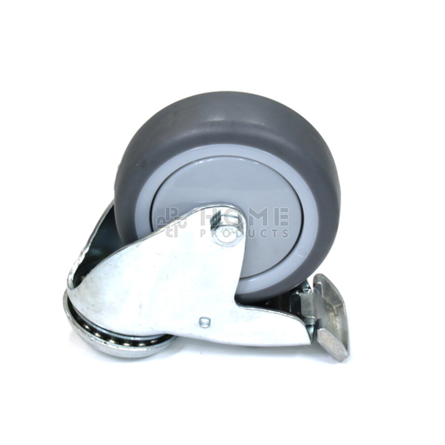 Swivel castor with brake, 75 mm diameter, non-marking rubber tire, load capacity up to 75 kg