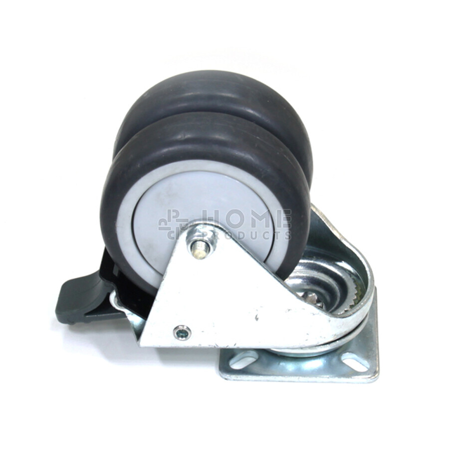 Swivel castor with brake, 75 mm diameter, non-marking rubber tire, load capacity up to 100 kg